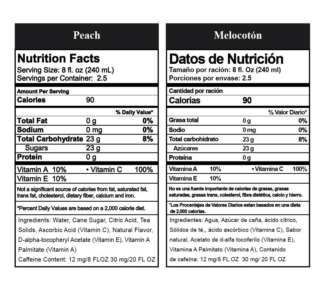 Bare Nature Vitamin Iced Tea Peach Nutrition Info