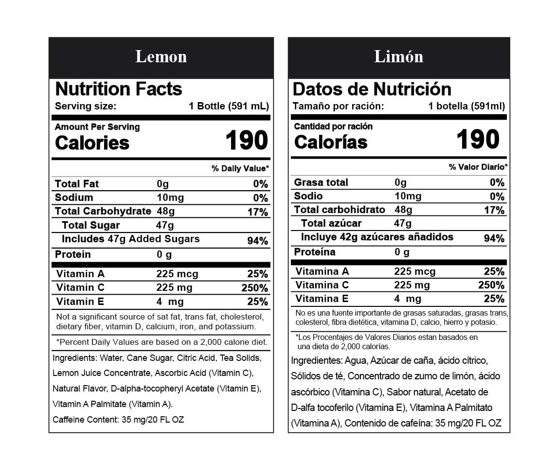 Bare Nature Vitamin Iced Tea - Lemon - Nutritional Info